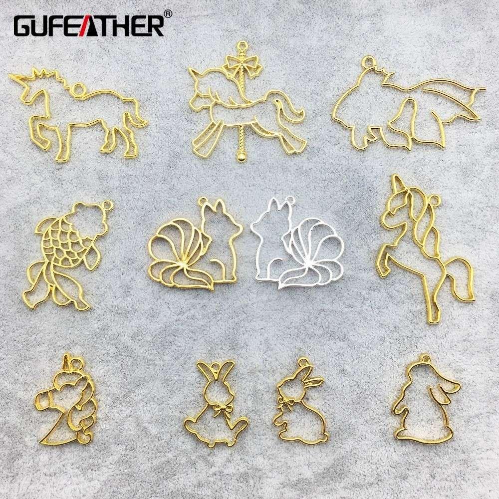 GUFEATHER M217,rabbit fish shape,epoxy resin metal frame,charm,gold pendant bezel setting,jewelry making,hand made,diy jewelry