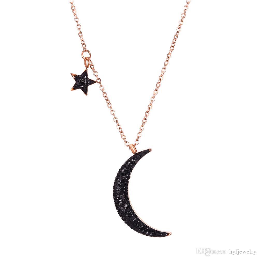 Star et Lune Pendentif Collier en acier inoxydable plaqué or 14k Noir Zircon Collier en acier titane bijoux cadeau femmes fille