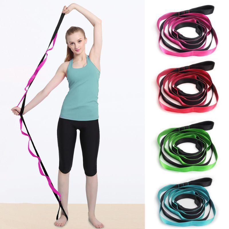 Крытые Фитнес Упругих Йоги ремень 12 Loops Регулируемой Упражнение Группы Растяжение Пояса для физиотерапии тренировки пилатеса