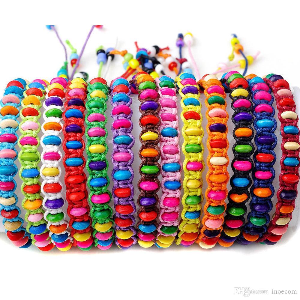 100 teile / los Bunte Holz Perlen Weben Seil String Kinder Mädchen Freundschaft Armbänder Handgemachte Charm Strang Bangle Strand Schmuck