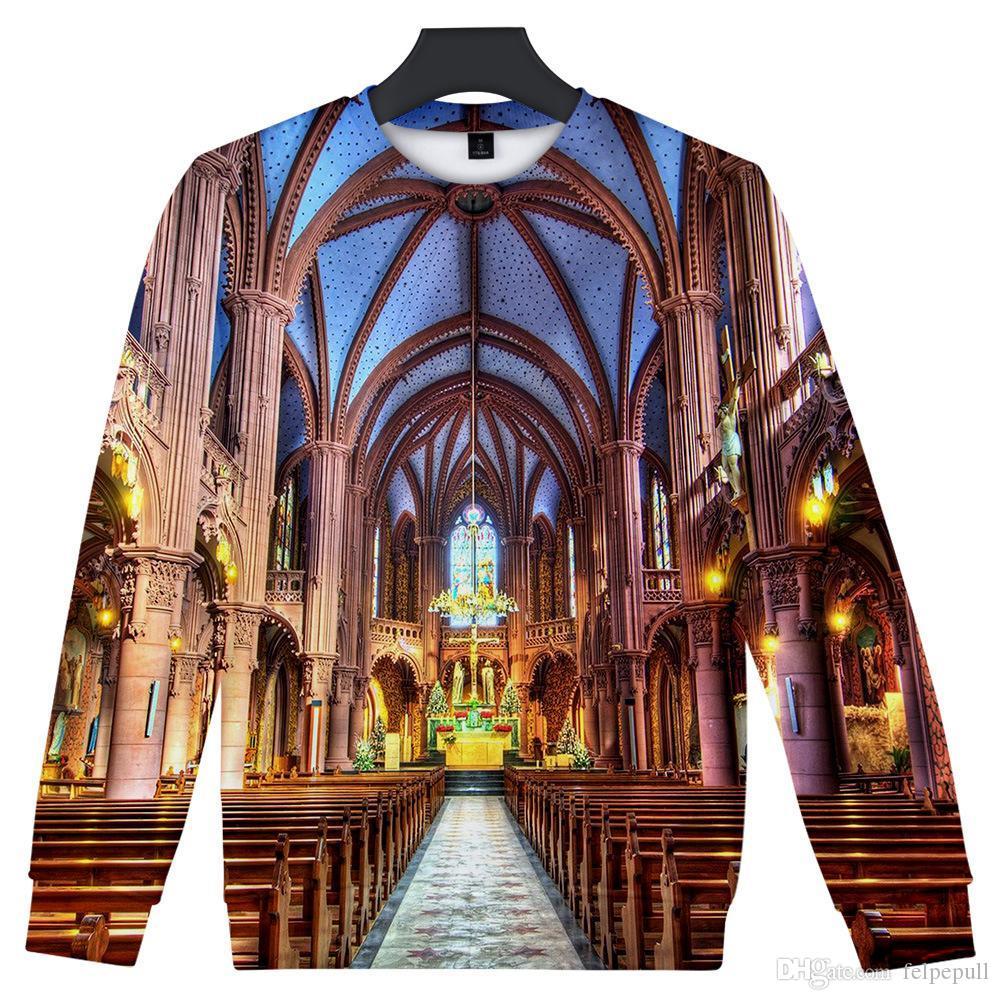 Hommes 3D Designer Hoodies Notre Dame de Paris O col overs manches longues Sweat