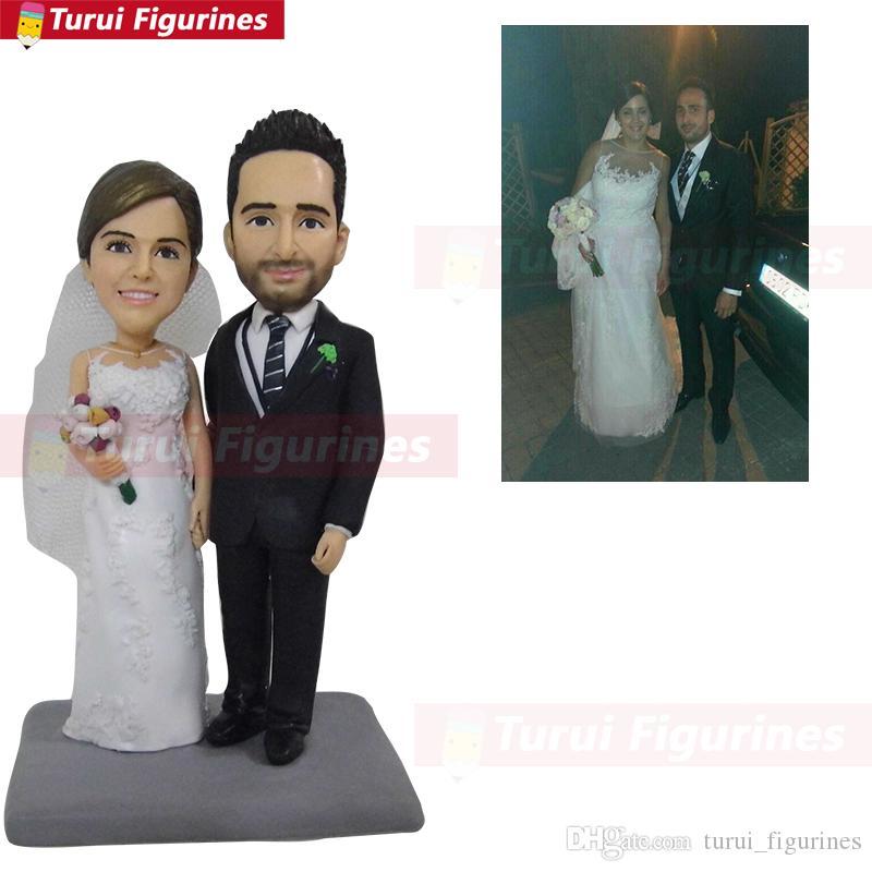 WeddingHot Sale regalo Custom Polymer Clay Figure De Fotos Preservación permanente toppers de pastel toppers de cumpleaños bobblehead
