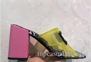 Luxo Jelly Designer Chinelos PVC chinelo Transparente salto alto seis centímetros 9 centímetros Sandals Slides Alto Contraste Couro Cor Serpentine Shoes