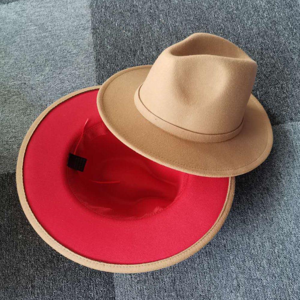 Outer Camel Inner Red Patchwork o chapéu de feltro de lã Outono Inverno Jazz Trilby Cap Clássico europeu dos EUA Homens Mulheres Fedora Hats