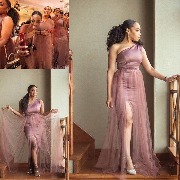 2020 Africano dama de honra vestidos sereia de um ombro Tulle Satin madrinha de casamento vestidos de alta Dividir Pavimento Length weddign Vestidos de Clientes