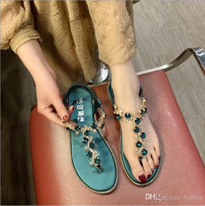 Strass Sandalen Frauen Sandalen Mode-Sommer-Schuhe Frauen Rom Gladiator beiläufige Ebene Sandelholz-Strand-Schuhe Weibliche Schuhe