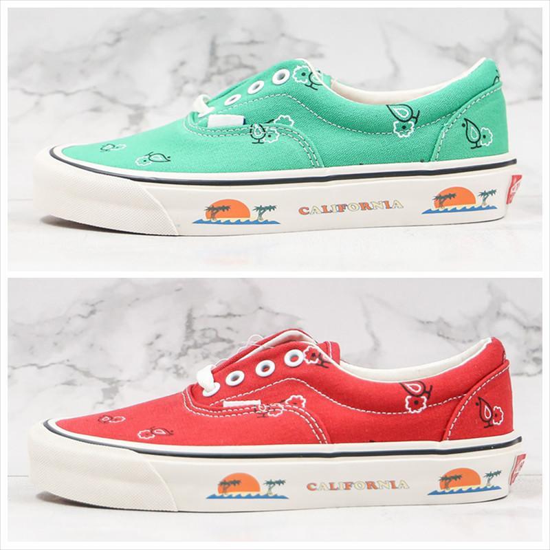 Новые парусиновые туфли кешью цветок Пейсли OG Era LX зеленый синий красный Солнечный Берег Калифорния Vault Мужчины Женщины Повседневная обувь 35-44