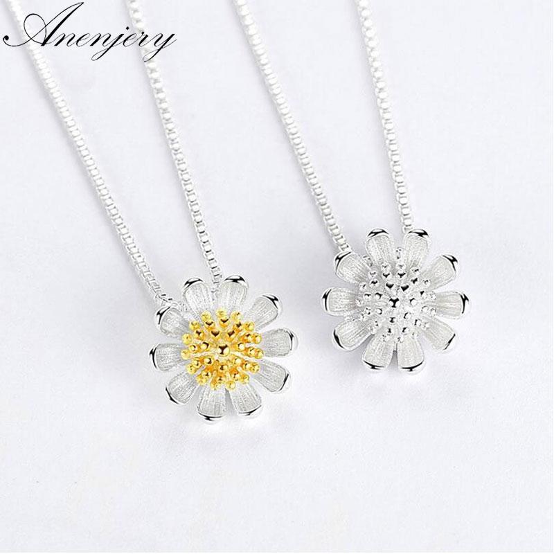 Anenjery 925 Gümüş Kolye için Kadınlar Papatya Ayçiçeği kolye Clavicle kolye Yaz Takı S-N205 Collares
