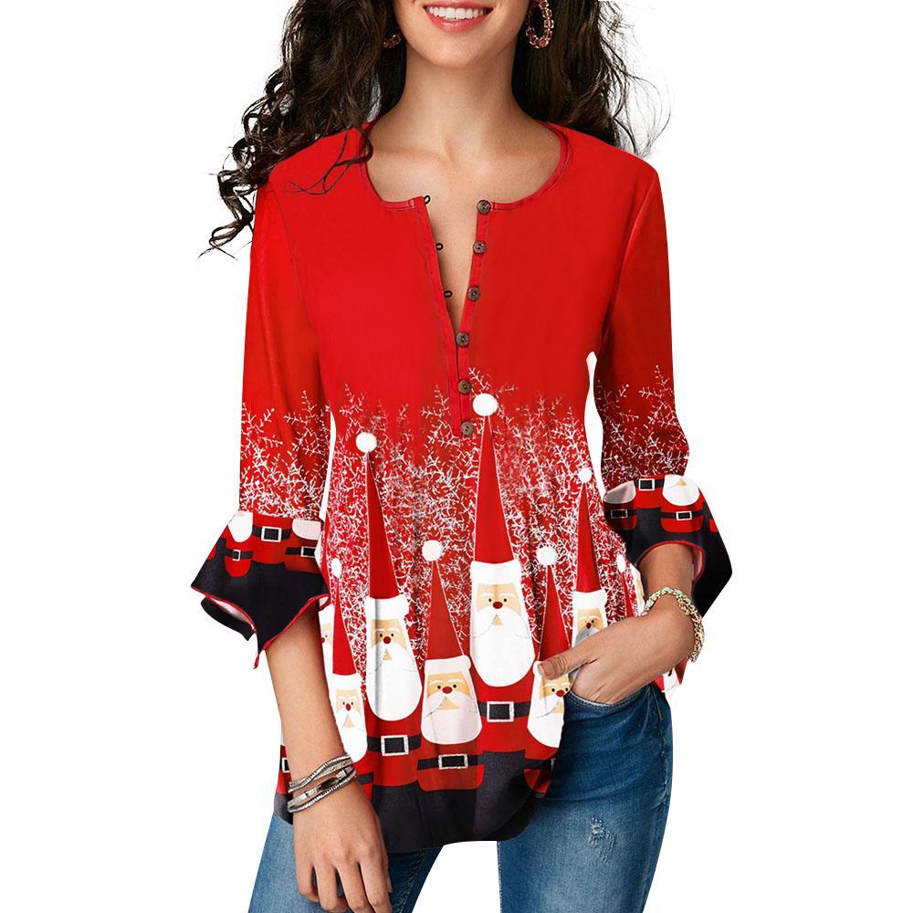Natale stampato Shirt Donna Ruffle maniche a pieghe camicetta signore Red O Collo Button Top Female manicotto dei tre quarti Blusas D30