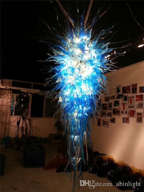 꽤 블루 컬러 무라노 천장 샹들리에 조명 에너지 절약 아트 디자인 매달려 유리 펜던트 램프 결혼식 장식