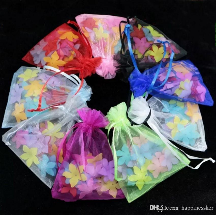 Bijoux en gros Multicolor Organza Pouches Party Petit mariage Favor sacs-cadeaux Emballage bonbons Emballage cadeau