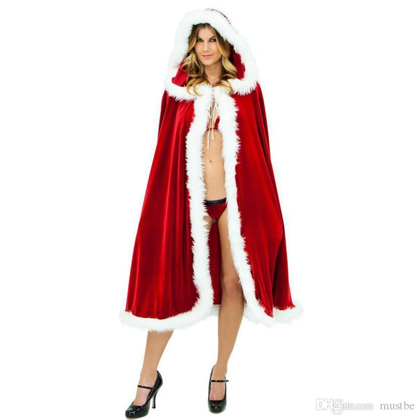 Christmas Hooded Cape Cloak Red Velvet Deluxe Costume Women fashion Tippet New Claus Party Cosplay Christmas Clothing ngo