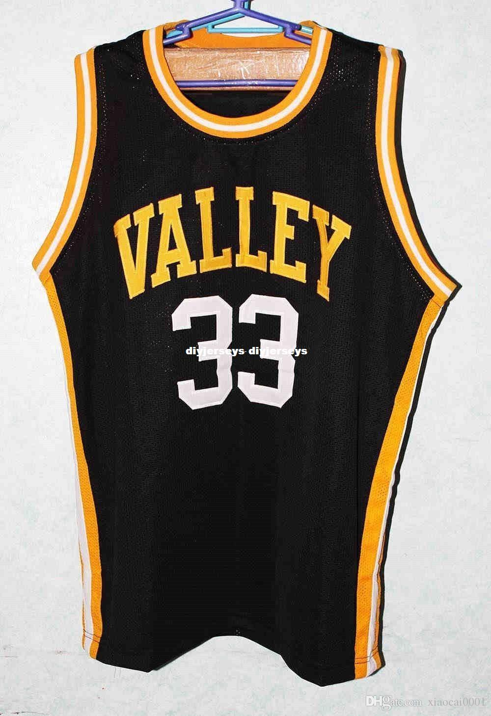 2c47b559c Cheap custom LARRY BIRD  33 VALLEY HIGH SCHOOL Basketball Jersey Black  White Embroidery Stitches Customize any size and name