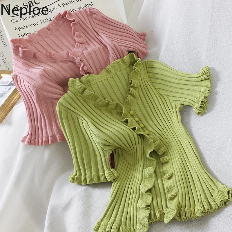 Neploe Retro Fuguns de punto camisetas de las mujeres del verano 2020 Nuevo V-cuello de manga corta camisetas de Corea solo pecho Ladies Tops 44780 CX200530
