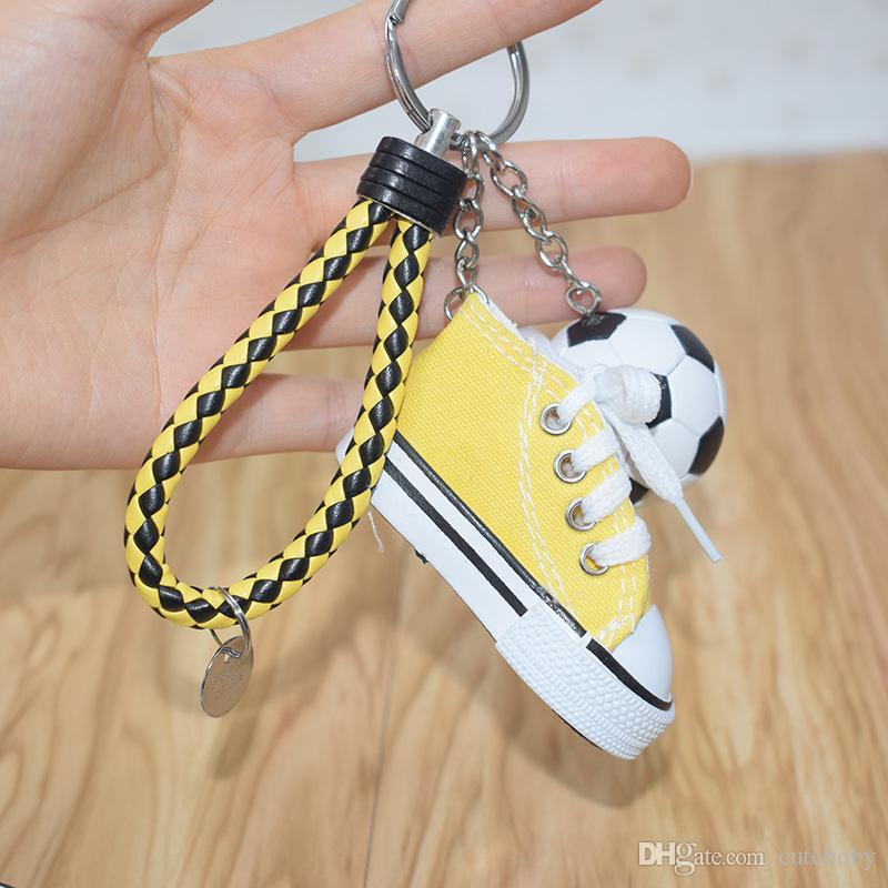 3.8cm 미니 PVC 축구 키 체인 미니 선물 DHL 가죽 로프 자동차 가방 볼 열쇠 고리 홀더 키 체인 신발