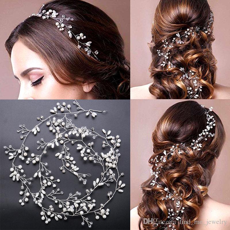 Hecho a mano de imitación de la perla diadema romántica novia de cristal flor de moda de cobre plateado plateado joyería de la boda accesorios al por mayor