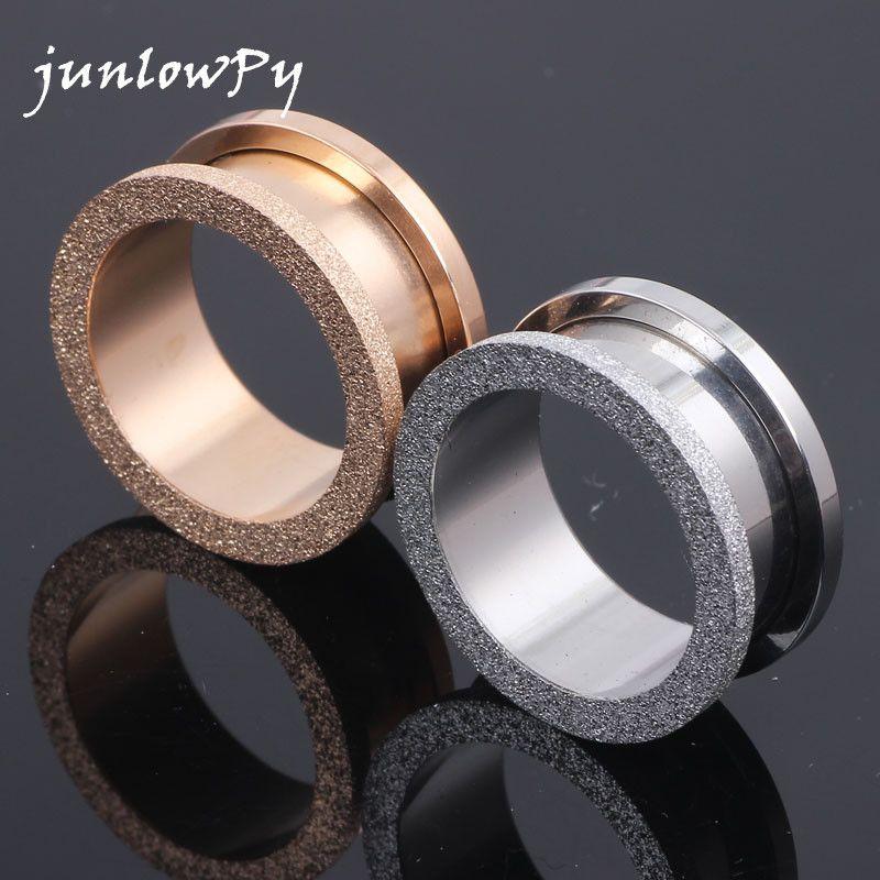 Tunnel Plug Stahl Glitter Glitzer Rose Gold 4-20mm Acciaio inossidabile ear plug expander piercing monili del corpo