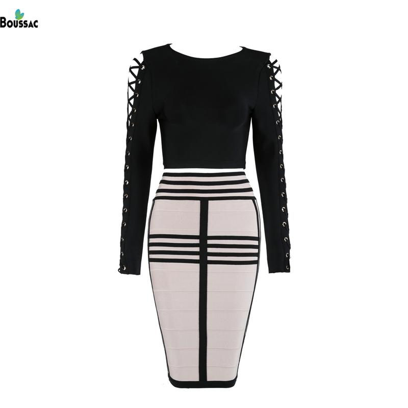 BOUSSAC Women Elegant Dress Suit Black Short Shirt with Hollow Out Weaved Sleeve Knee-Length Rayon Skirt Office Two-Piece Suit