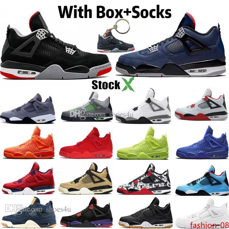 Novas Bred cimento branco 4 4s IV leais Blue Cactus Jack sapatas frescas Grey Mens Basketball Designer FIBA UNC Mushroom Blue Jeans Men Sports Sneake