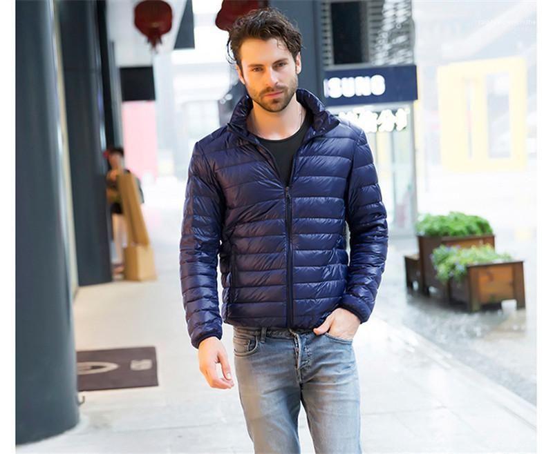 Standplatz-Kragen-Männer Doudoune beiläufige dünne Mann unten Homme Oberbekleidung Winter-Designer Herren-Jacken dünne Solid Color Langarm