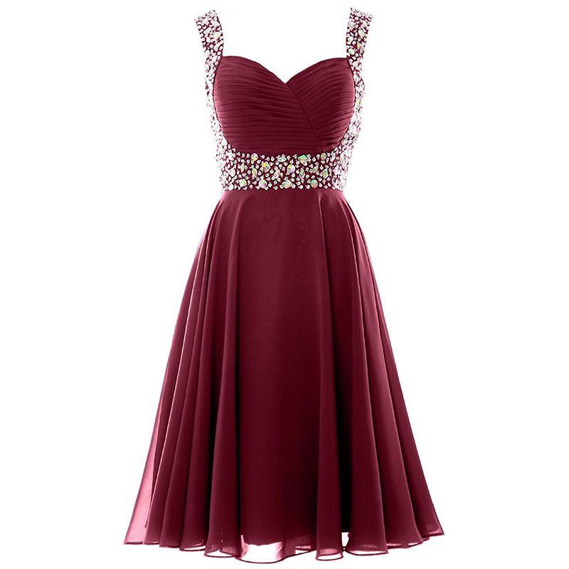 Correas espaguetis con encanto ciruela vestidos de dama de honor gasa una línea de dama de honor vestidos cristales rebordear otoño boda vestidos de invitados