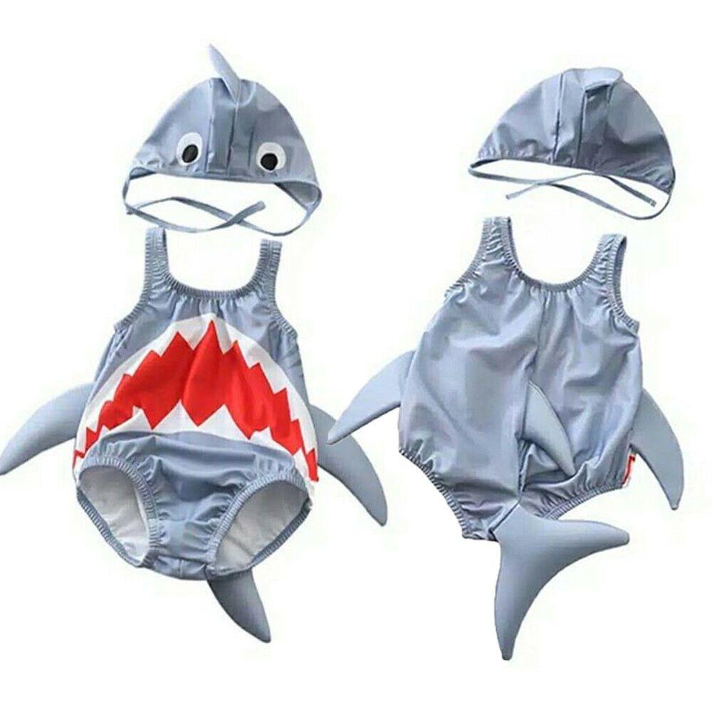 Été Tout-petits enfants bébé garçon Cartoon requin maillot de bain Bikini maillot de bain