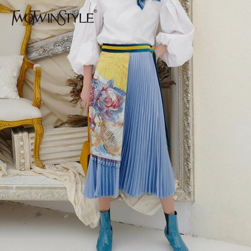 Twotwinstyle Vintage plisado mujeres Midi faldas de gran tamaño elástico de cintura alta Imprimir una línea falda femenina otoño moda nueva Y19043002