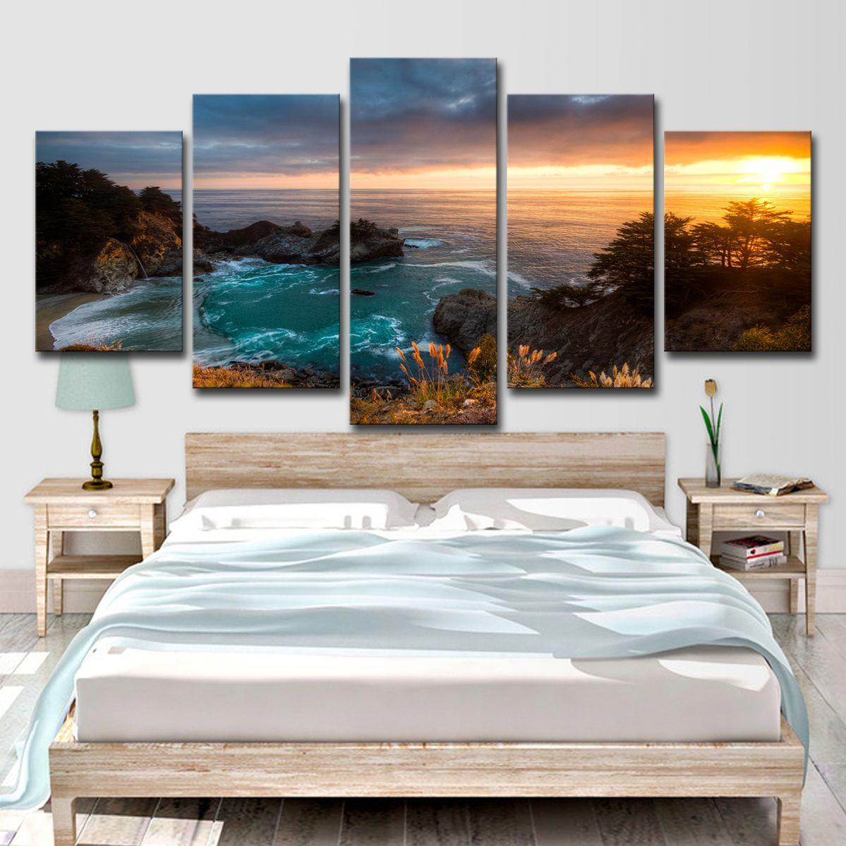 Modern HD Impresso Canvas Poster Home Decor Pintura Arte Modular 5 Painel Sunrise Seaview Sala Retratos Da Parede