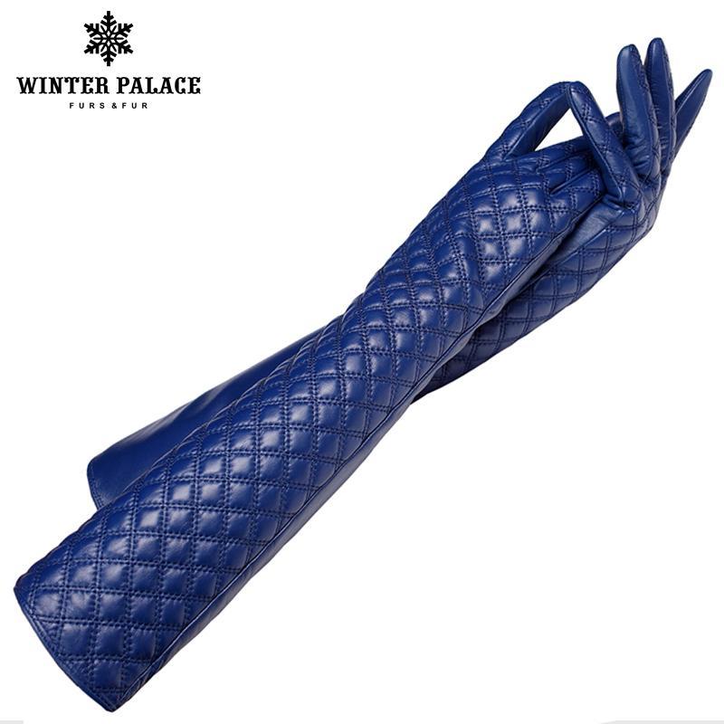 Guanti lunghi in pelle moda, vera pelle, lunghezza 45-46 cm, cotone, adulto, veri guanti di pelliccia nera, spandex, guanti in pelle
