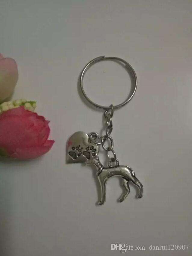 cadena y anillo colgante de encanto de plata tibetano Llavero-caliente de la manera galgo pata DogHeart-gato / perro de joyería de bricolaje Ajustar el llavero - 123