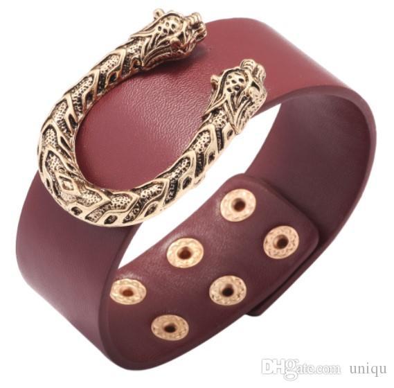 design di lusso delle donne dei braccialetti gioielli braccialetto progettista U leopardo per le signore di cuoio larga ingrosso di gioielli