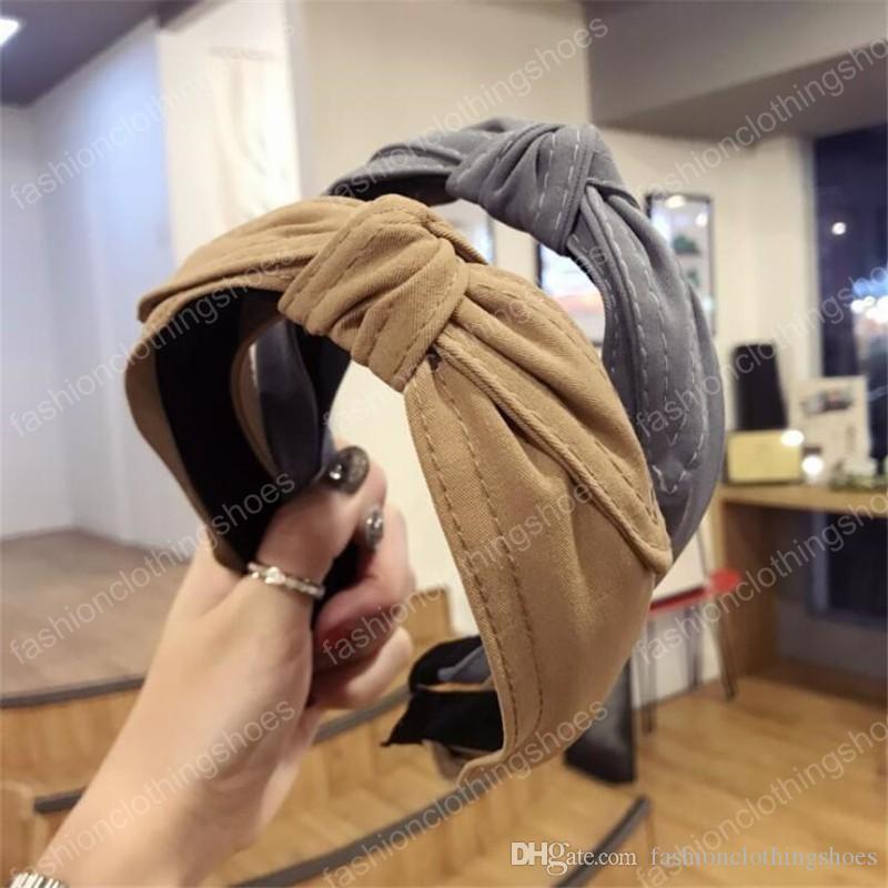 Bande panno di moda Corea Boutique Hairband annodato fascia delle ragazze delle donne dei capelli della testa del cerchio Accessori Scrunchy Hairbands Copricapo