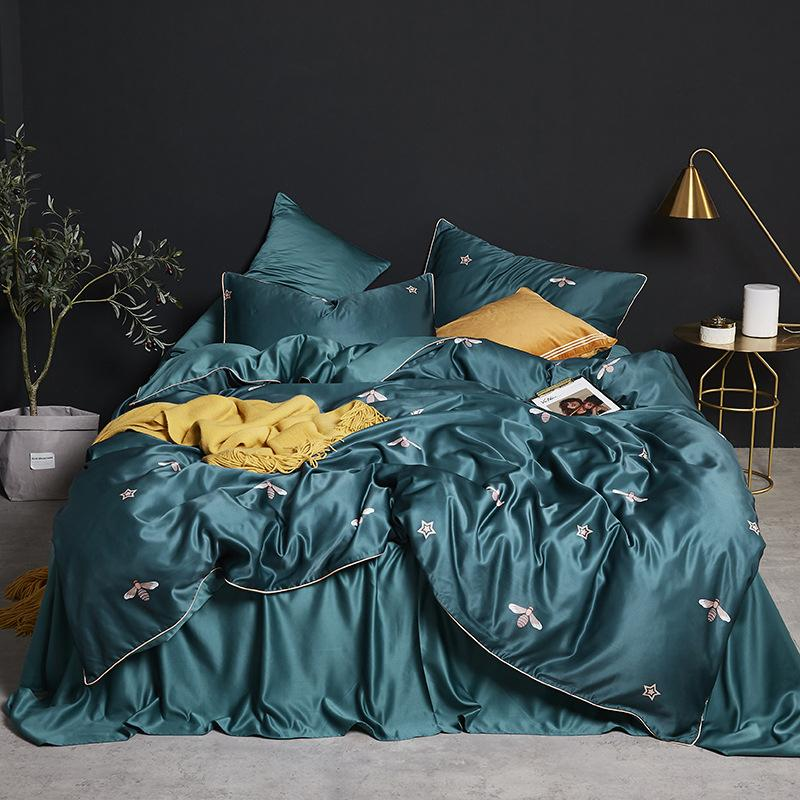 Luxury silk bedding comfort queen size bed set imitation silk printed bed cover king size bed cover pillow cover 4 pieces T200415