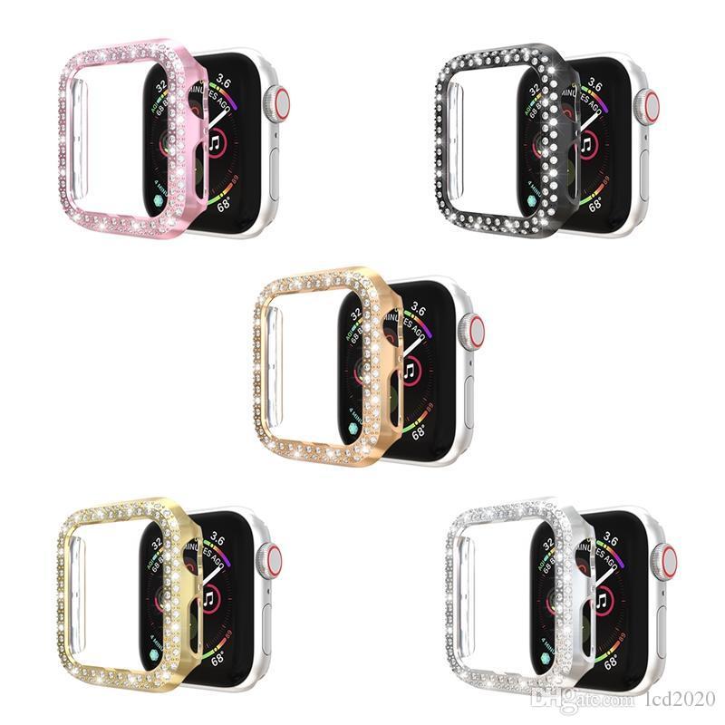 عالية الجودة PC حالة تغطية مع صف مزدوج الماس لشركة آبل Iwatch 1 2 3 4 5 سلسلة 38MM / 42MM 40MM / 44MM خمسة ألوان الاختياري