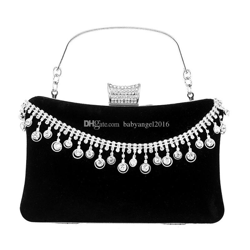 Quaste Strass Frauen Abendtaschen Samt Diamanten Kleine Tageskupplung Für Party Geldbörse