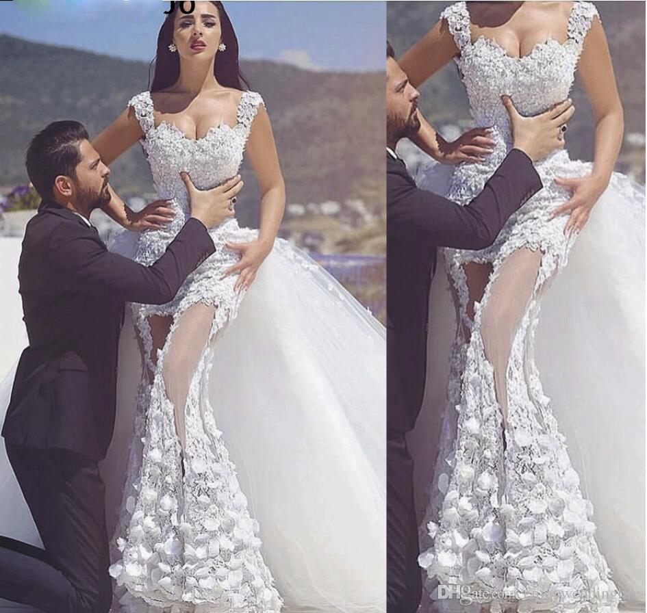 Train détachable Robes de mariée sirène 2020 Robe de mariée sans manches en dentelle appliques à la main fleurs chérie cou robes de mariée