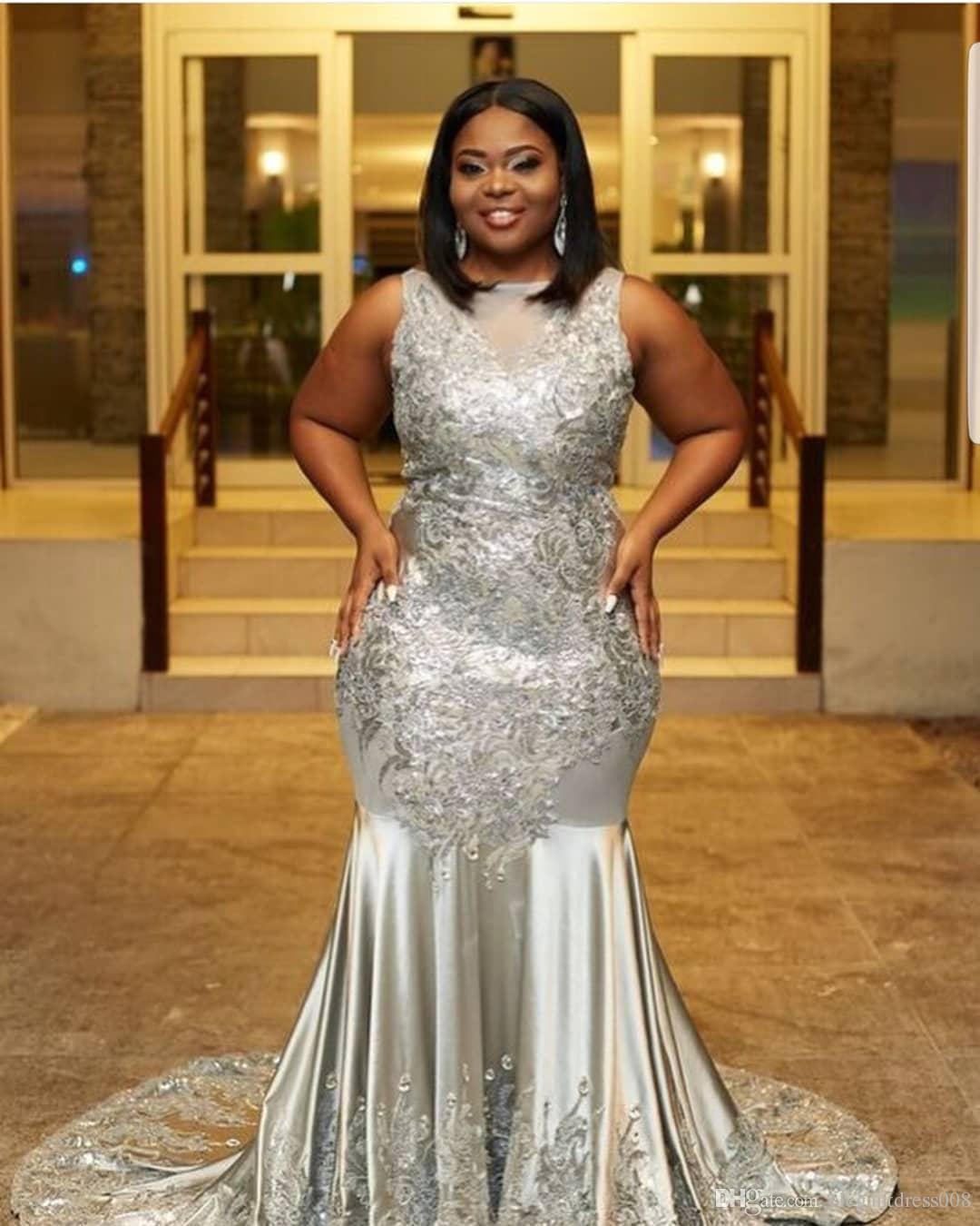 Großhandel Afrikanische Schwarze Mädchen Nigerian Silber Meerjungfrau Prom  Kleider Plus Size Abendkleider Gericht Zug Kleider Abendmode Besondere
