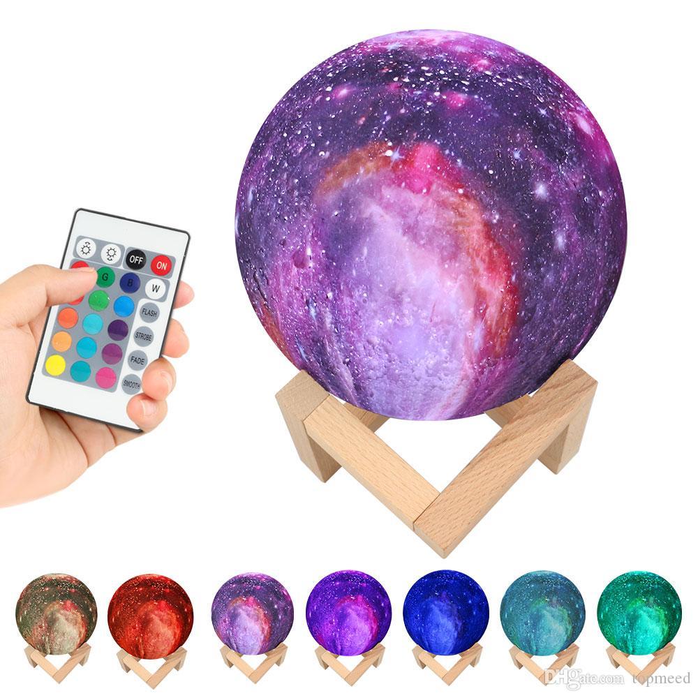 El cielo estrellado 15CM 3D Impreso Planet Lámpara Luna 3/16 Cambie los colores llevó la luz de la lámpara Galaxy dormitorio regalo creativo decoración