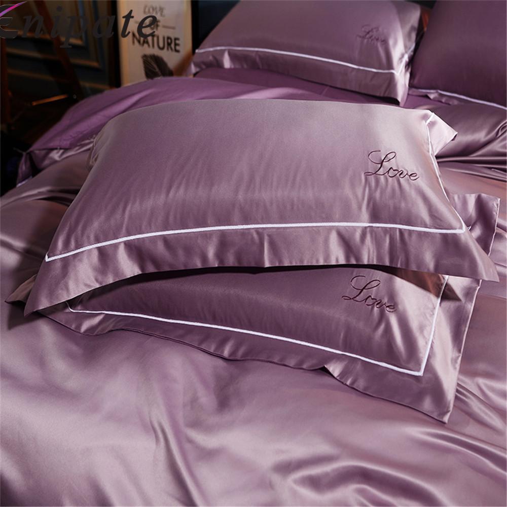 Enipate 1 Çift Lüks Nakış Yastık Kılıfı Yıkanmış Ipek Aşk Süper Yumuşak Çift Yastık Kılıfı Yatak Odası Yastık Kapakları 48 * 74 cm Y19062103
