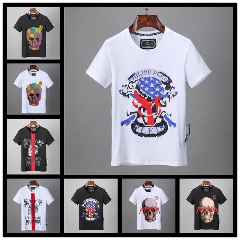 86 стиль модельер бренд P-P Hot drilling Skulls футболка мужская одежда Футболки для мужчин топы с коротким рукавом футболка