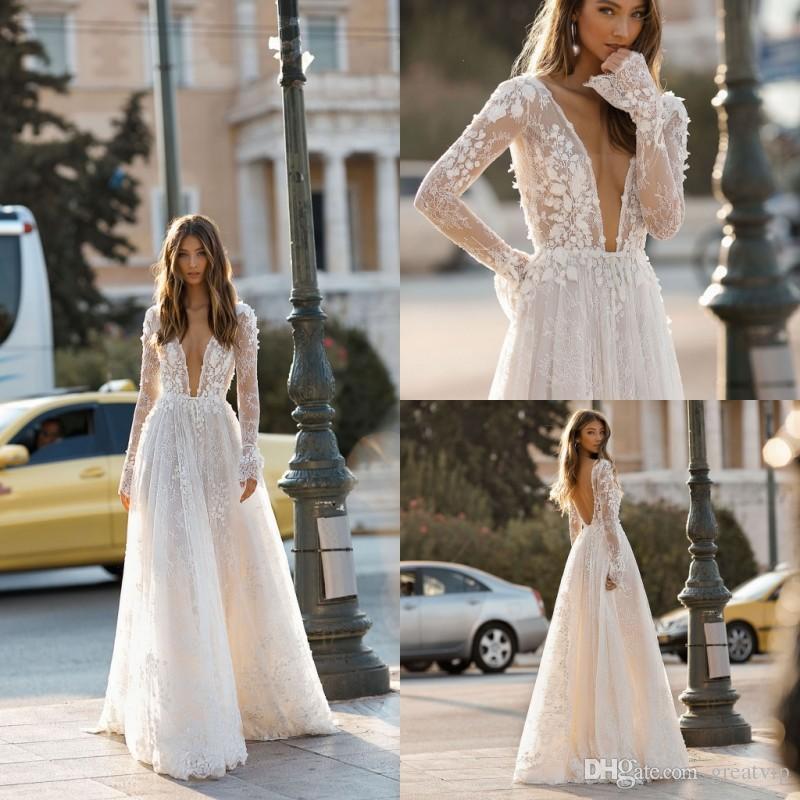 Berta 2019 A Line Wedding Dresses V Neck Lace 3D Floral Applique Long Sleeve Backless Bridal Gowns Plus Size Beach Robe De Mariée
