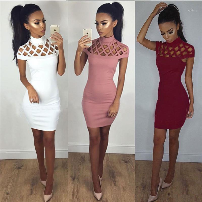 Diz Boyu Kalem Elbise Kadın Seksi BODYCON Üstü Elbise Kasetli Hollow Out Moda Katı Renk Giyim Kadın Casual