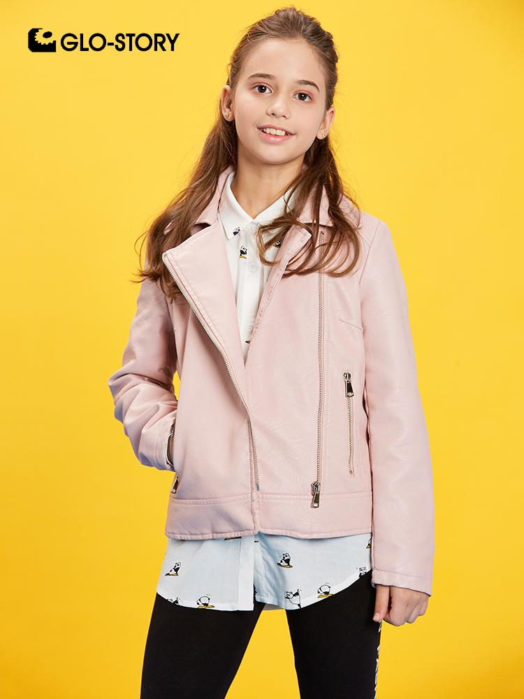 GLO-STORY 2019 New Kids Girl's Zipper Turn-Down Jackets Faux Leather Jacket For Girls Streetwear Coats Children Clothes GPY-8067