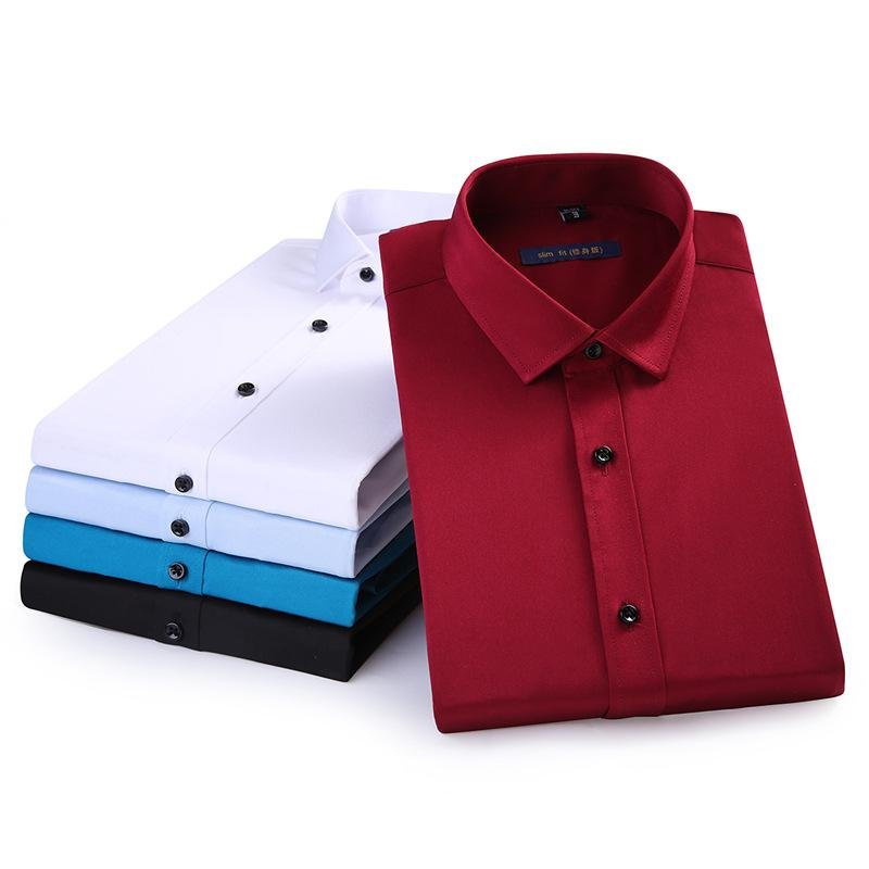 Autunno Maschio Camicie Masculino Hombre Moda abbigliamento da lavoro solido elastico Slim Mens abiti eleganti Casual No ferro e asse da vari colori 4XL
