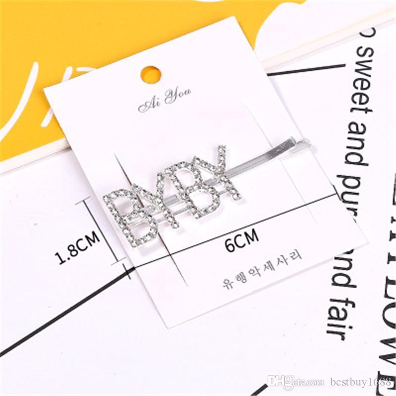Cristal Lettre strass Barrettes New 12 mots Fille Hairpin Mots Diamants Clip Barrettes Mode Bangs femme Accessoires cheveux F0055