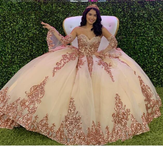Rose Gold Sparkly Quinceanera Prom Dresses 2020 Modern Sweetheart Lace Applique Sequins Ball Gown Tulle Vintage Evening Party Sweet 16 Dress