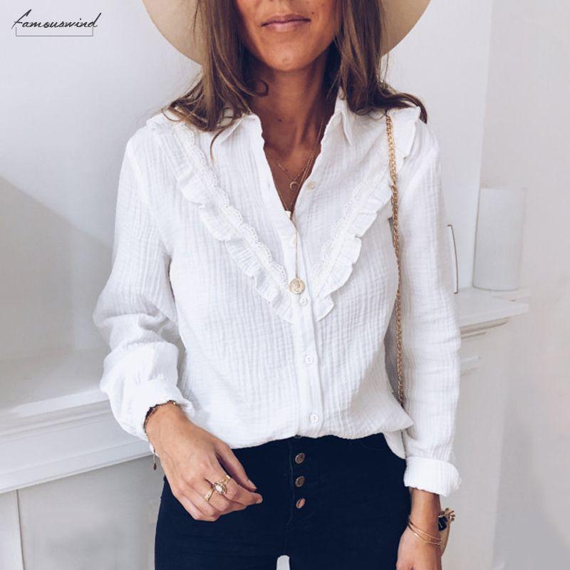 Ufficio poliestere signora Women top e camicette elegante a maniche lunghe Ruffles bianco Ol Shirt da Donna con Dames Plain Chemise Femme Streetwear