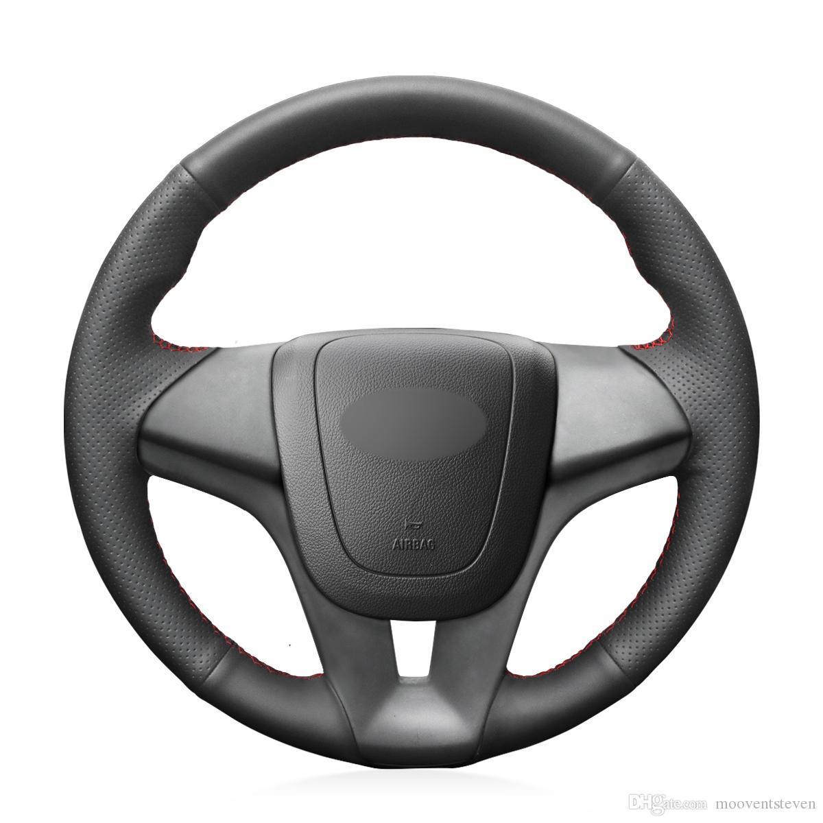 Mewant Siyah Hakiki Deri Araba Direksiyon Kapağı Chevrolet Cruze 2009-2014 Aveo 2011-2014 Holden Cruze 2010