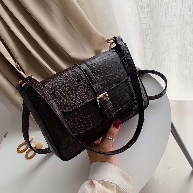 Épaule Vintage Main Pour Sacs Femmes Sac 2020 Handbags Handbags Alligator Femmes Femmes Main Un sac de messager Qnxne