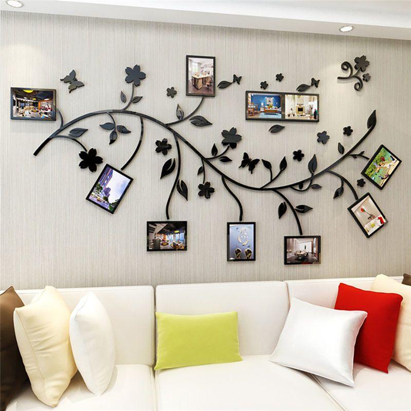أحمر أخضر أسود 3D DIY صور شجرة فرع PVC شارات الجدار / لاصق الأسرة ملصقات الحائط جدارية الفن ديكور المنزل غرفة نوم ملصقات Y200103